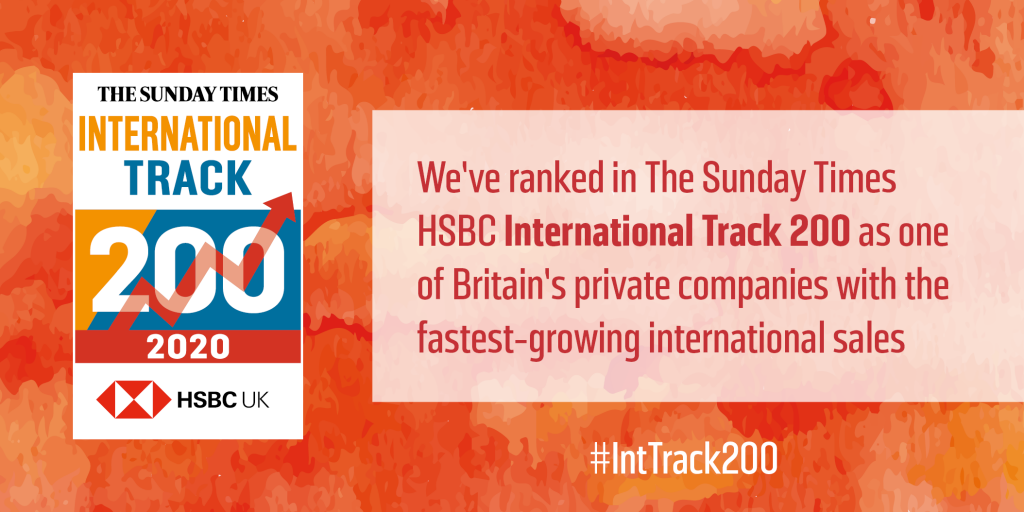 We've ranked in the Sunday Times HSBC International Track 200.